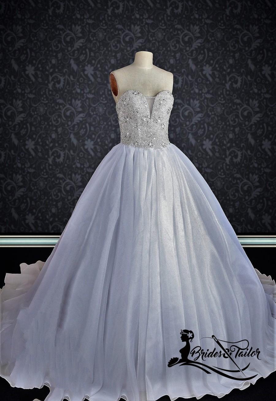 Hochzeit - Strapless Wedding Dress with Crystal Bodice