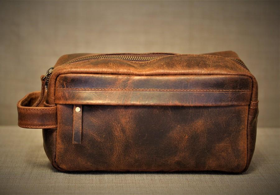 Wedding - Men's Leather Toiletry Bag , Cosmetic Bag with Handle, Full Grain Leather Wash Bag, Leather Dopp Kit , Xmas Gift