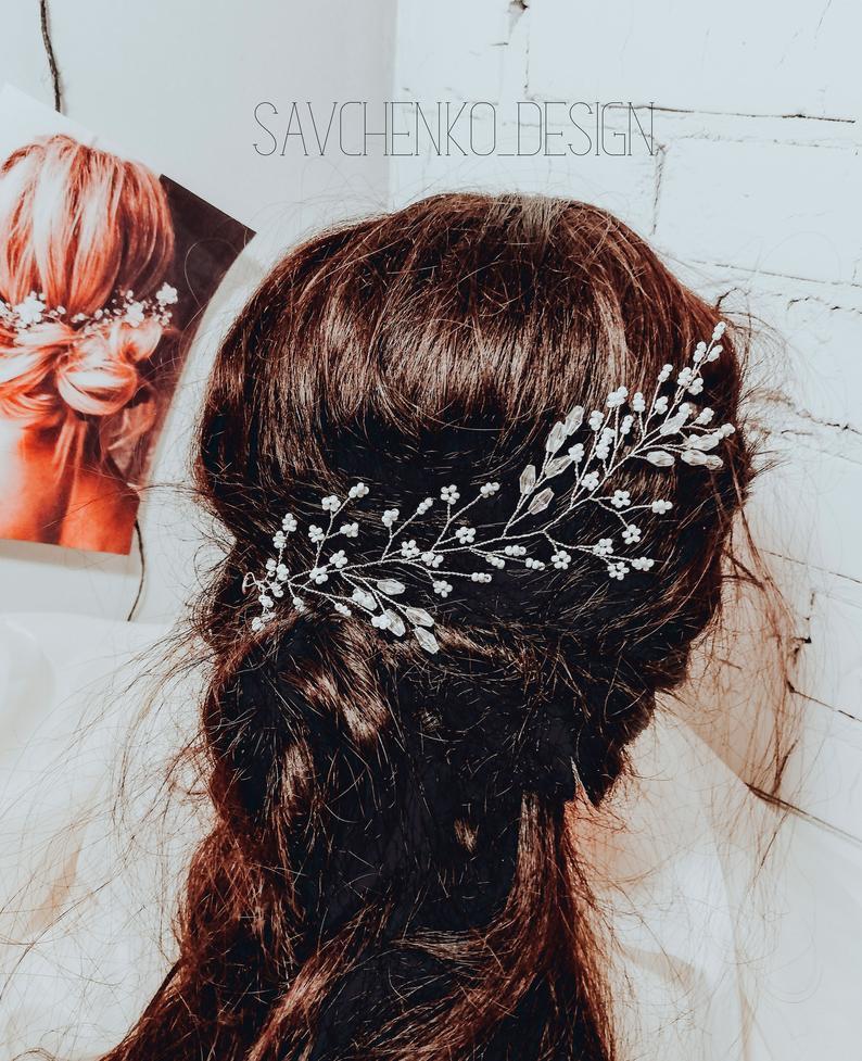 Wedding - Delicate hair vine, bridal hair piece beach wedding hair accessories, pearls rhinestone bridal halo, floral hair vine, wedding wreath bride