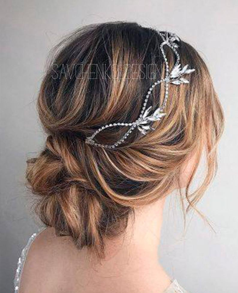 Свадьба - Wedding headpiece, Silver bridal hair piece, hair accessories, rhinestone hairpiece, crystal hair vine, beach wedding tiara,bridal hair clip