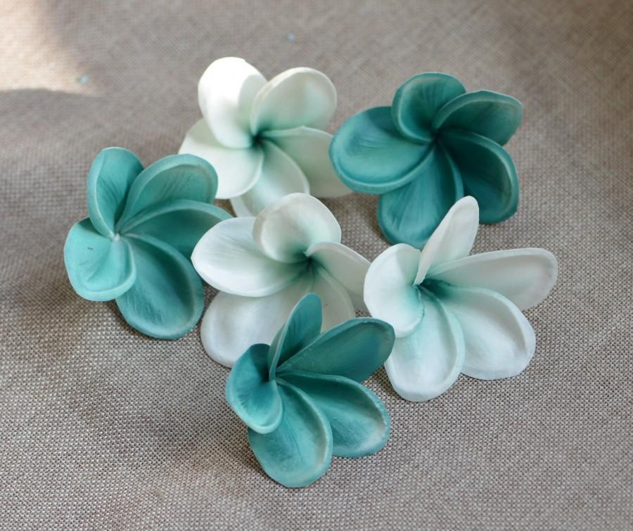 Mariage - Teal Center Plumerias Natural Real Touch Flowers frangipani heads DIY cake Toppers, Wedding Decorations