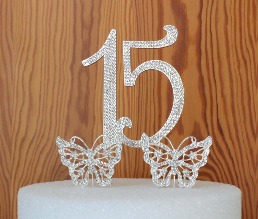 Wedding - Large Quinceanera 15 Birthday cake topper in crystal rhinestones Number 15 anniversary  Butterfly cake topper