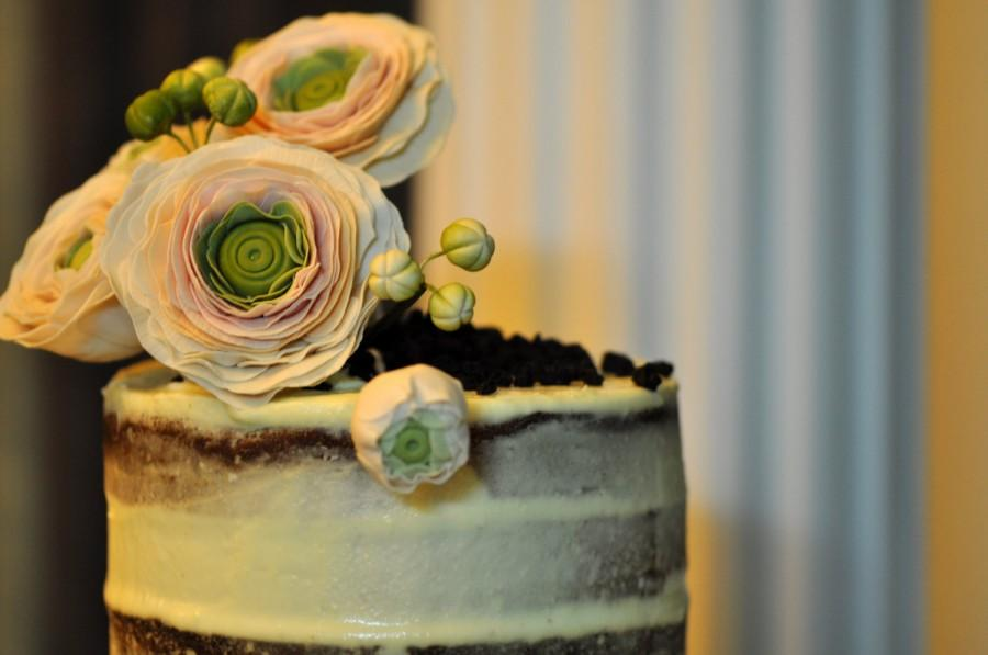 Hochzeit - Sugar flowers - Clay flowers - Cake topper- Ranunculus for wedding cake topper or other cake decorations sugar flowers