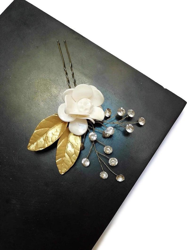 Wedding - Floral bridal hair pins, Wedding hair accessories, Bridal headpiece, Wedding hair pins, HPC-001