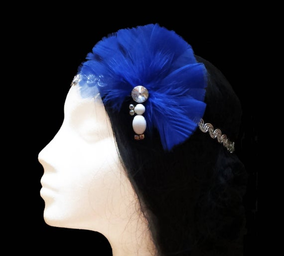 Hochzeit - 1920s Gatsby headband. Great gatsby headband. 1920s flapper headband. Blue feather headpiece. Bridal headpiece. Bridesmaid headpiece.