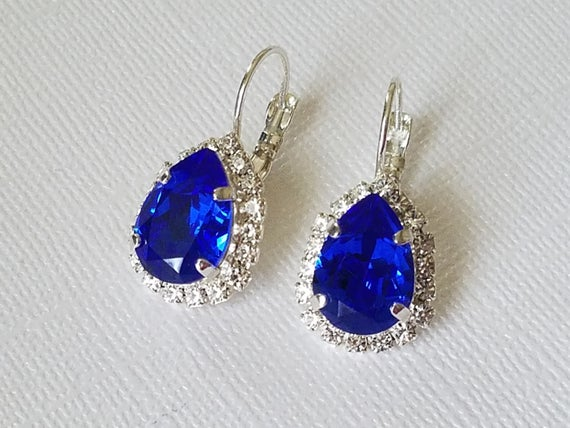 Hochzeit - Blue Crystal Halo Earrings, Cobalt Blue Leverbacks, Swarovski Majestic Blue Earrings, Sapphire Earrings, Wedding Jewelry, Bridal Party Gift