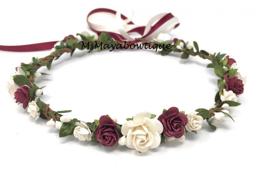 Свадьба - Burgundy and antique white flower crown, wedding flower crown, maternity flower crown burgundy, flower crown adult, flower girl crown