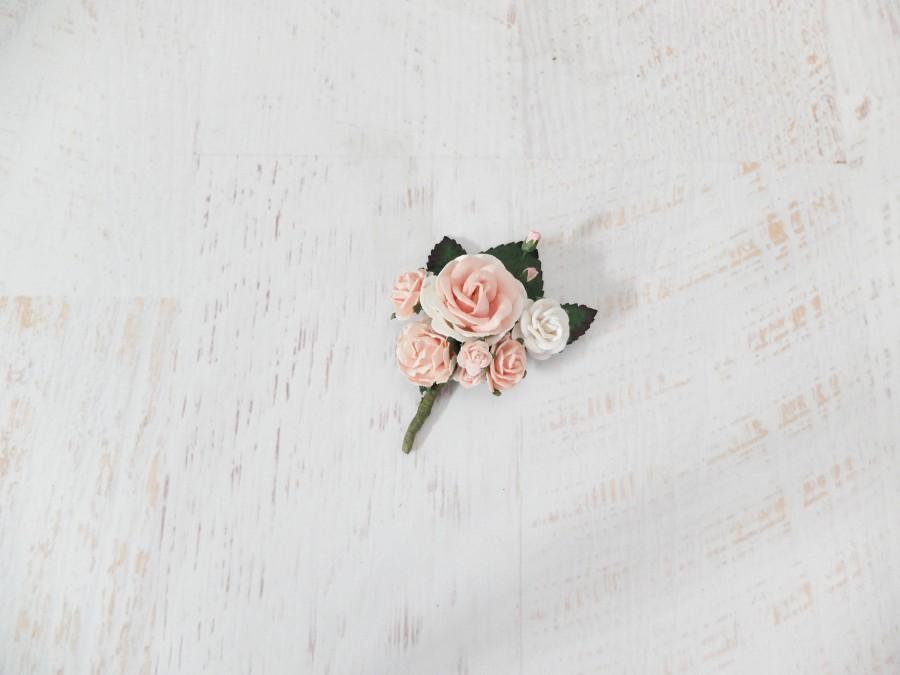 زفاف - Blush pink white flower boutonniere, buttonhole, wedding accessories prom corsage