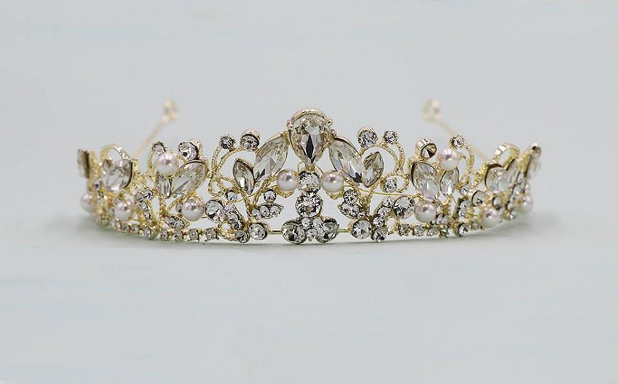 Wedding - Gold Wedding Tiara, Pearl Bridal tiara headpiece, wedding headpiece, rhinestone tiara, crystal tiara, Caroline Gold Headpiece