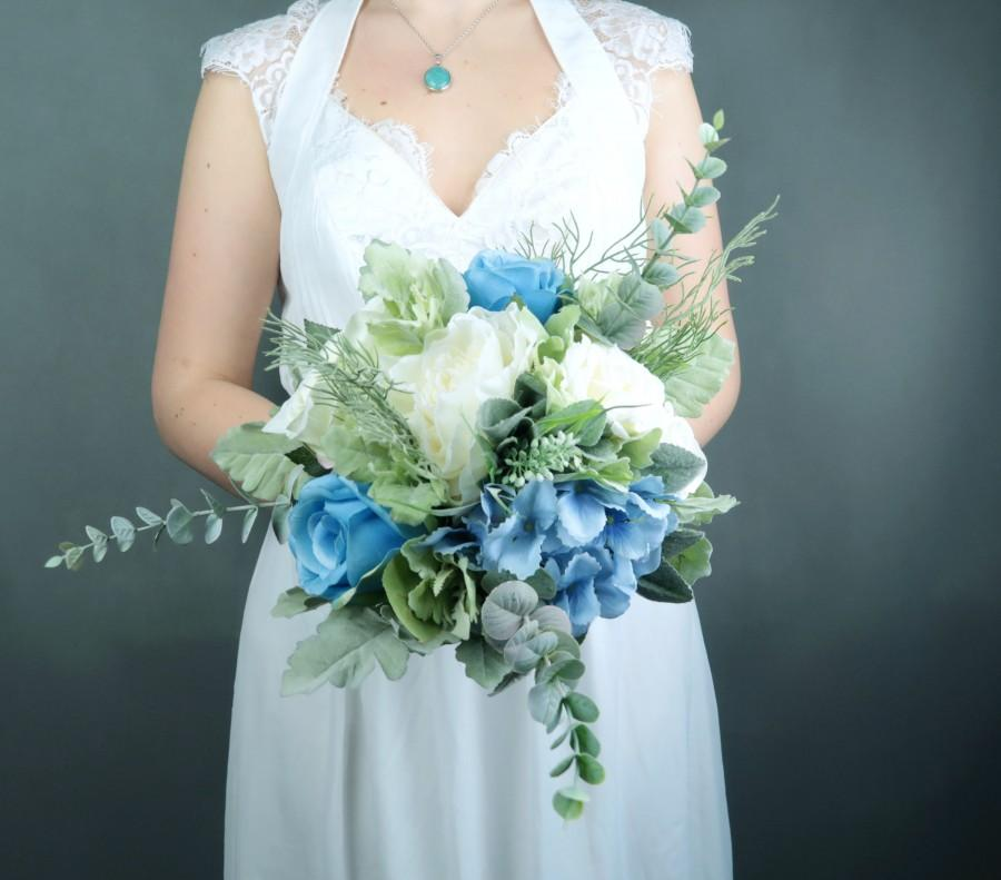زفاف - Pastel blue white silk flowers bouquet with greenery Best quality dusty miller flocked leafs roses hydrangea eucalyptus ivory bridesmaid