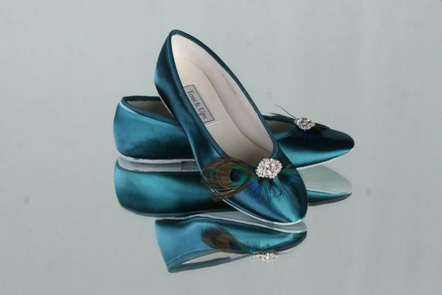 زفاف - Peacock Shoes - Peacock Ballet Slippers - Peacock Wedding - Choose From Over 100 Colors - Teal - Peacock Feather - Wide Shoe Size Available