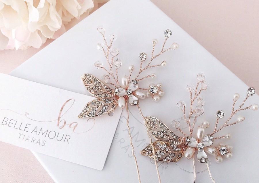 زفاف - Wedding hair pins Rose gold hair pins Bridal hair piece Wedding hair piece  Pearl hairpins Brides hairpins  Hair jewelry Bobby pin