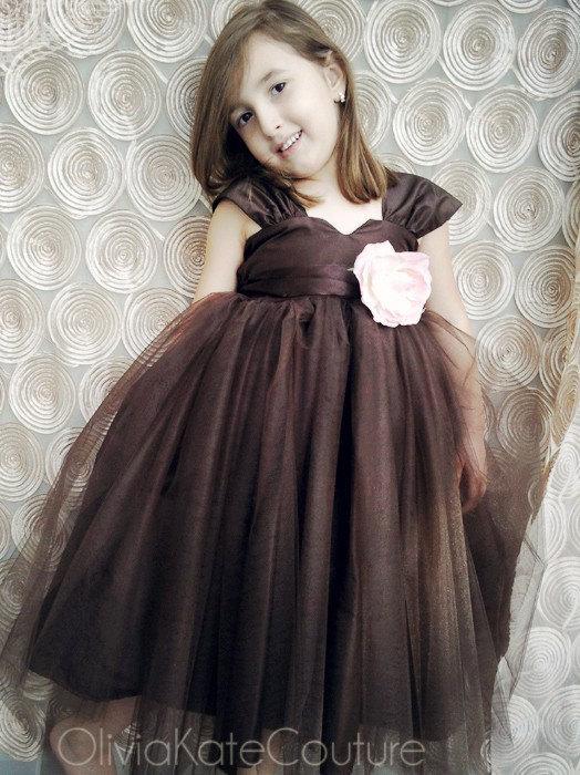 Wedding - Flower girl dress, silk flower girl dress, tulle flower girl dress, baby girl dress, cap sleeve flower girl dress, girls party dress