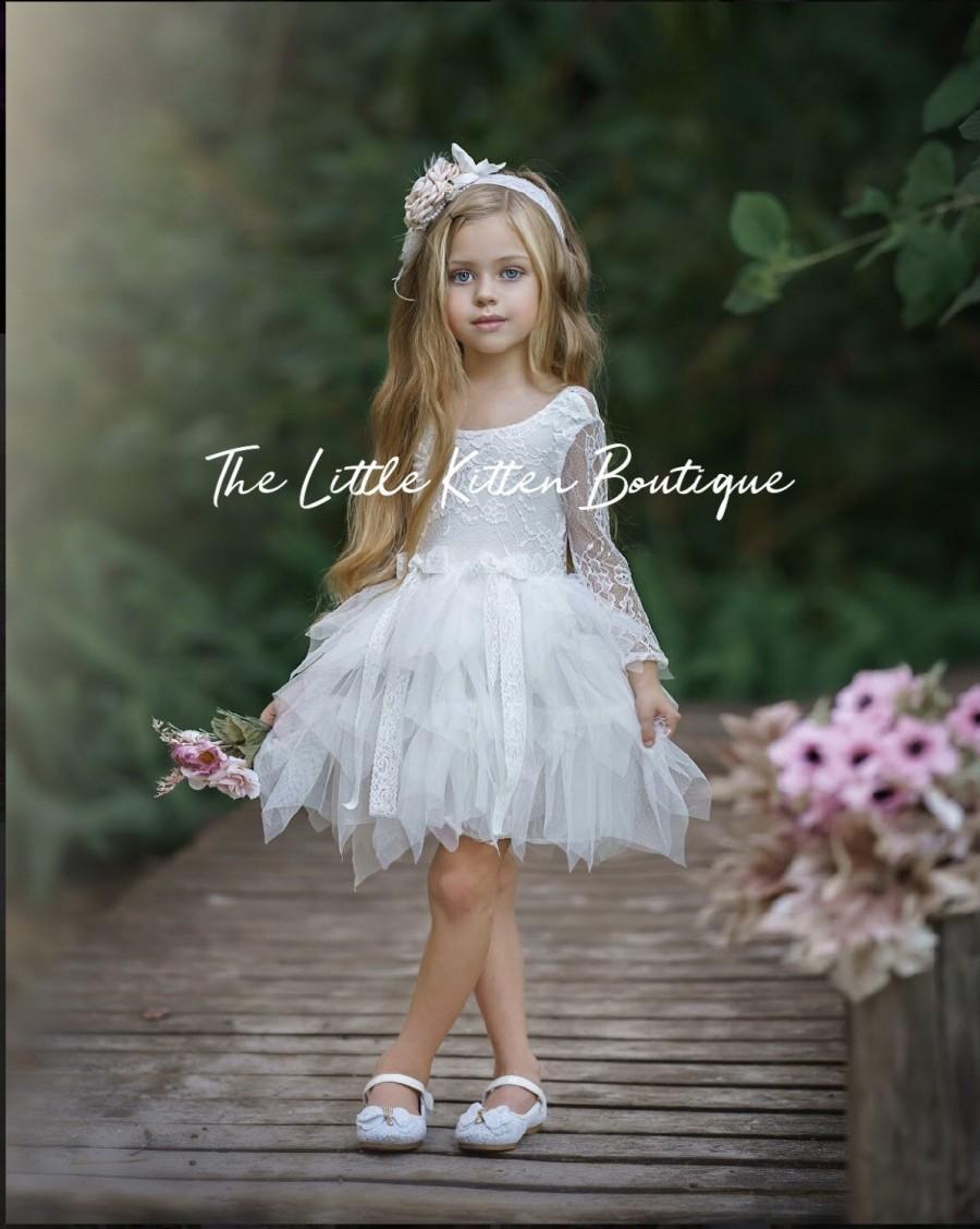 Hochzeit - tulle flower girl dress, rustic lace flower girl dresses, long sleeve flower girl dresses, boho flower girl dress, ivory flower girl dress