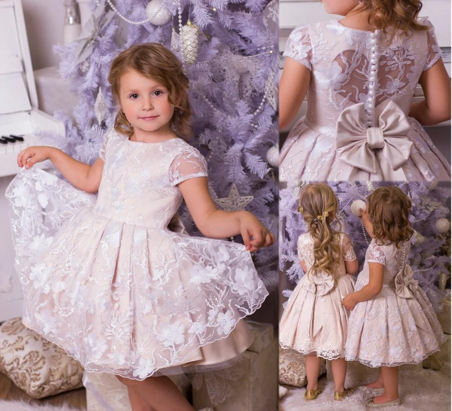 Wedding - Ivory flower girl dress Lace flower girl dress Blush flower girl dress  Chfmpagne flower girl dress  Formal baby dress Baby birthday dress