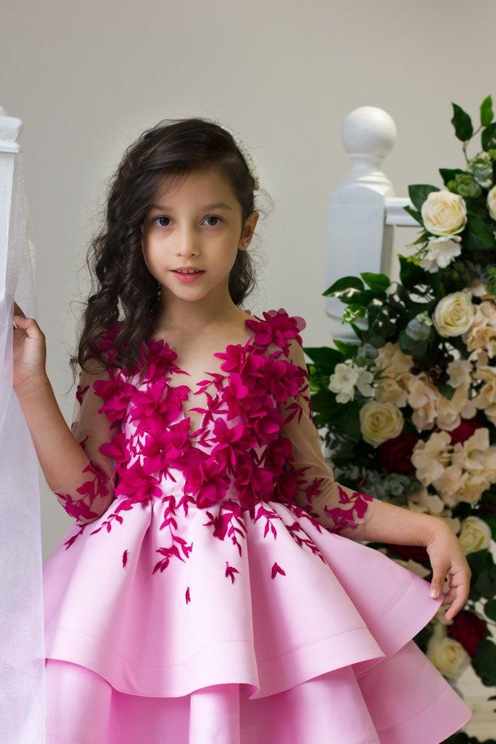 Hochzeit - Flower girl dress Burgundy lace flower girl dress Pink junior bridesmaid dress Formal baby dress Elegant toddler dress for Birthday