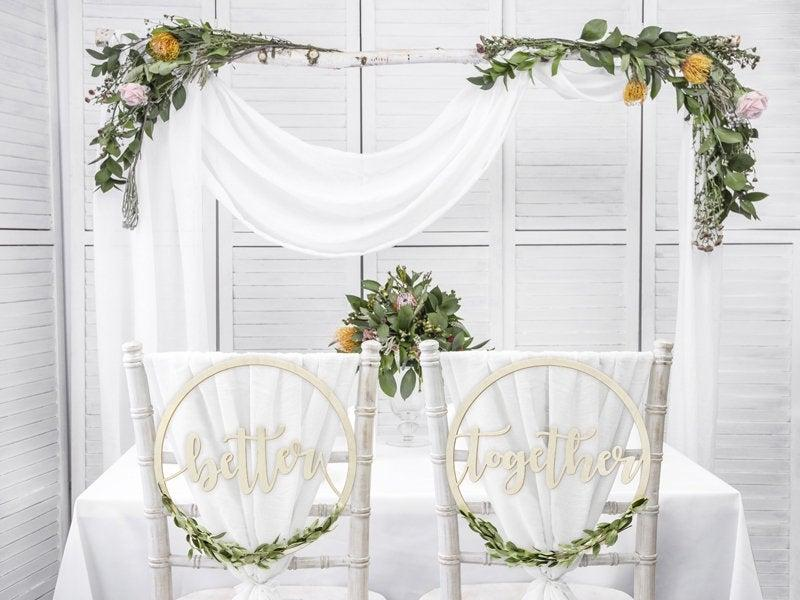 Hochzeit - Better Together Wooden Chair Signs, Wedding Decorations, Wedding Chair Signs, Wedding Decorations, Rustic Top Table Decor, Wedding Signs