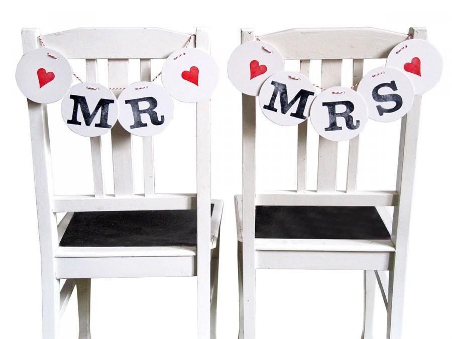 زفاف - MR & MRS chair decoration, wedding bunting by renna deluxe