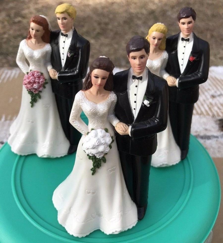 Wedding - Classic BUDGET wedding cake topper Bride Groom Flower bouquet~YOUR hair/eye/flower colors