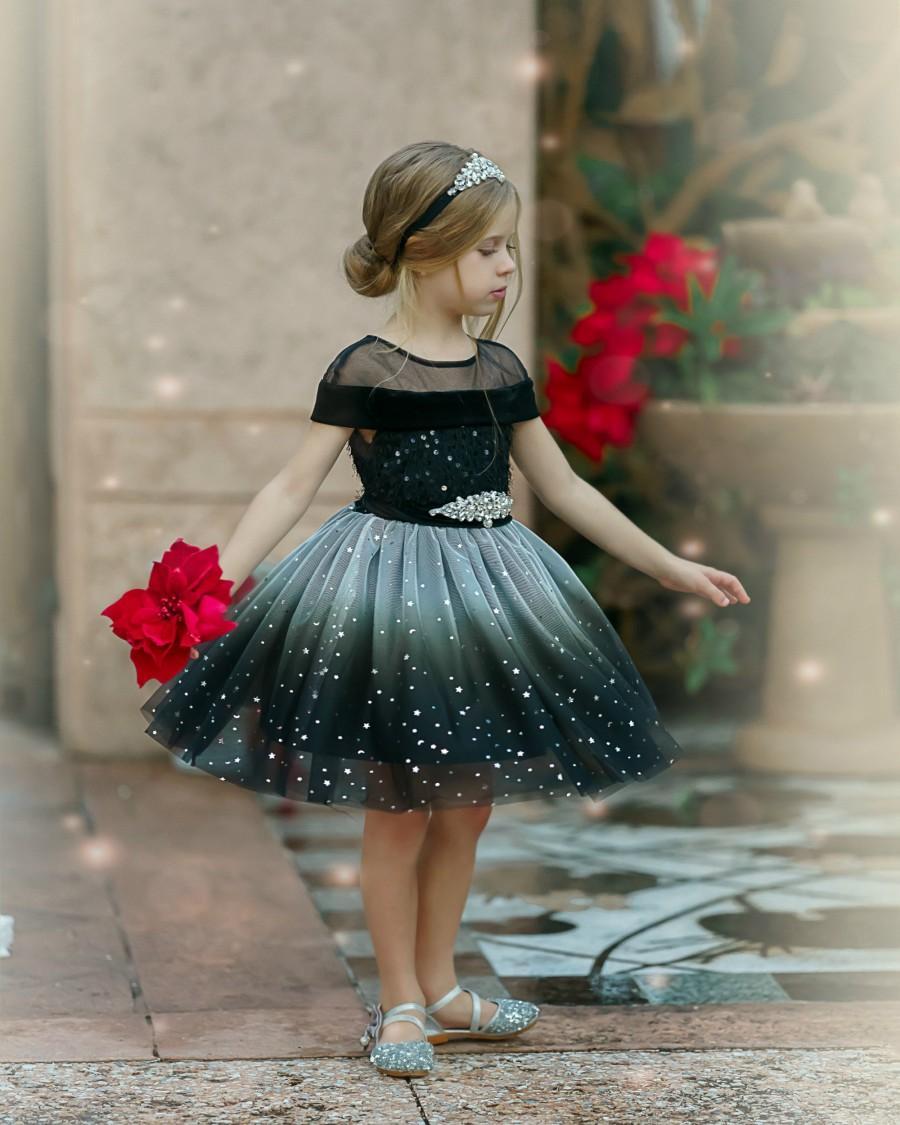 Wedding - Black Flower Girl Dress, Black Tulle Girls dress, Girls Special Occasion Dress, Girls Christmas dress, Girls Holiday Dress, Black Tutu Dress