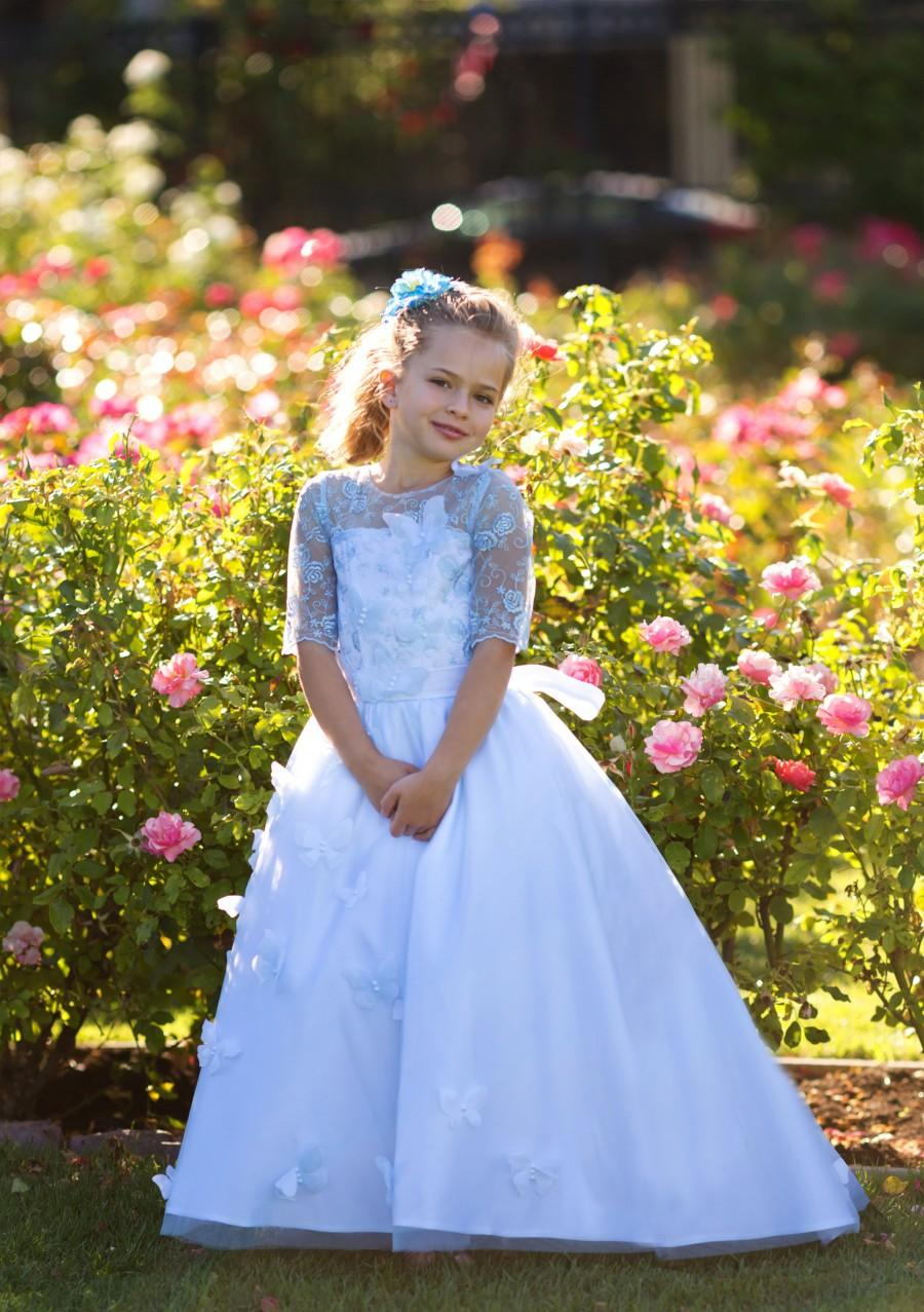 Hochzeit - Blue flower girl Princess Girls Party Lace Vintage Special occasion Baby Toddler Dress