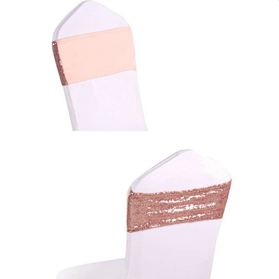 Wedding - Rose Gold Silver Blue Pink Glitter Sequin Chair Bands Spandex Chair Sashes Elastic Chair Bow Ribbon Wedding Engagement Birthday Party Decor