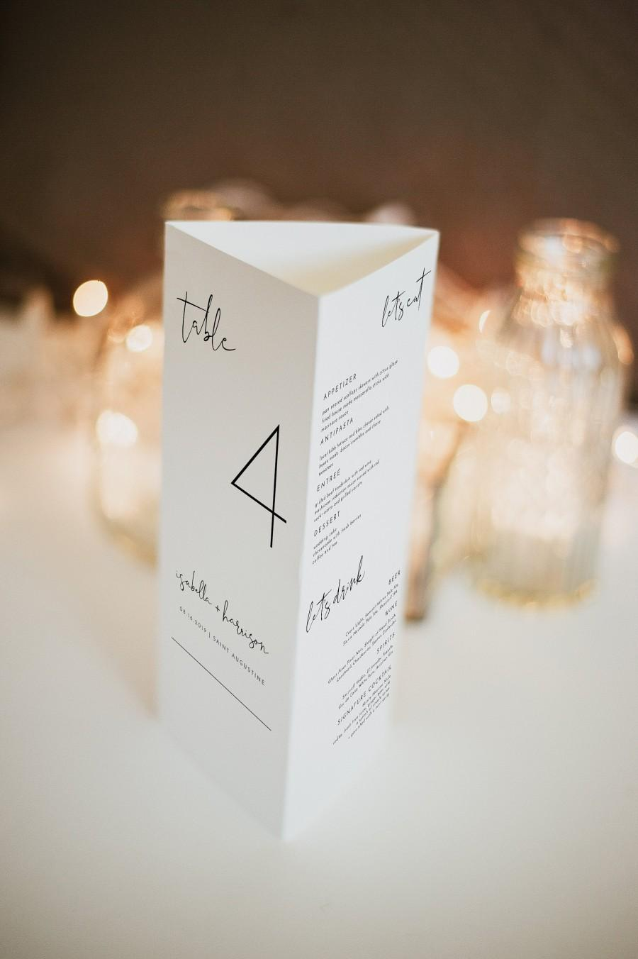 Mariage - Adella - Modern Wedding Triangle Table Number Template, Trifold Table Menu Template, Triangle Table Stand Wedding Program, Table Thank You