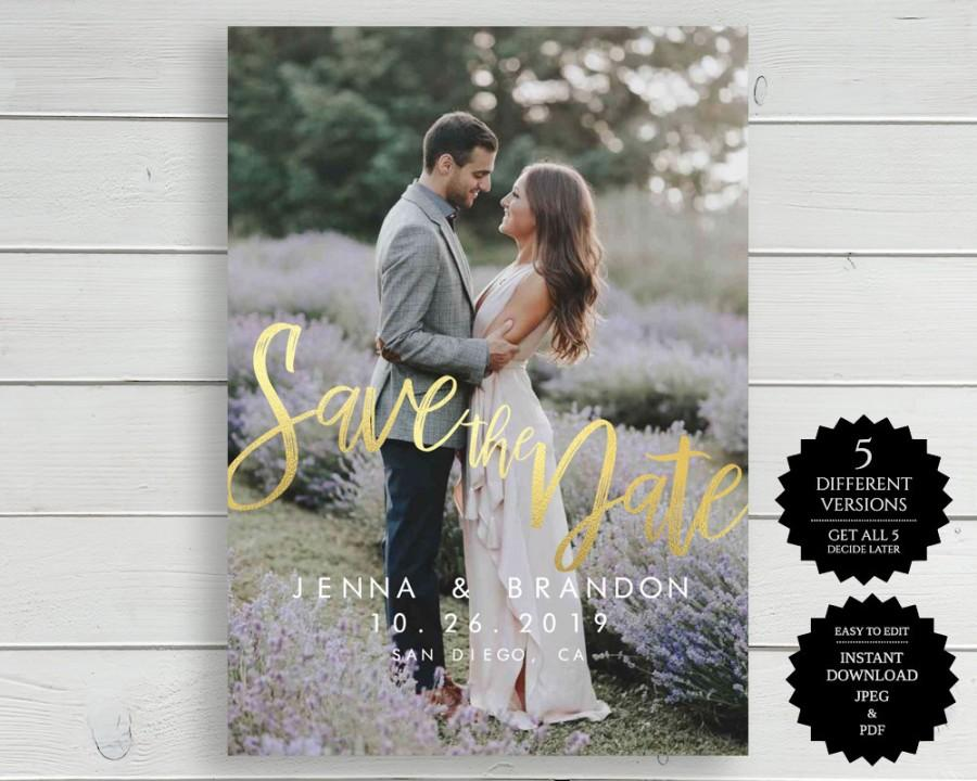 Mariage - Save The Date, Photo Save The Date, Instant Download, Template, Save The Date Cards, Save The Date Card, Printable, Save The Dates, Photo