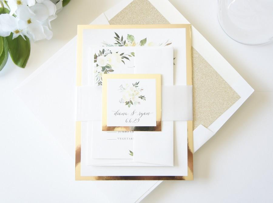 زفاف - Floral Wedding Invitation, Gold Wedding Invitation Set, Elegant Wedding Invitations - Deposit
