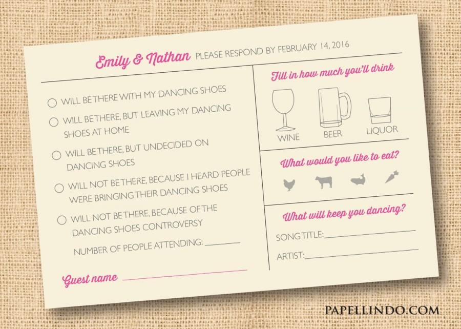 زفاف - DIY DIGITAL FILE Funny wedding Mad Libs printable reply rsvp card