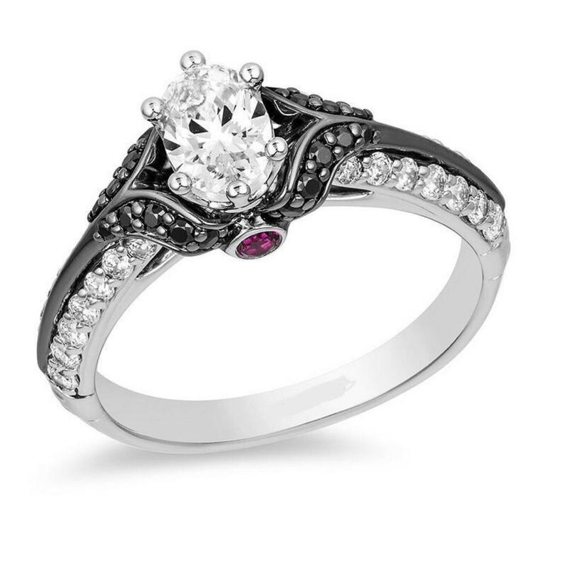 زفاف - Engagement Ring With Two Tone Solid 925 SS New Antique Enchanted Disney Villains Evil Queen Ring, 1Ct White Oval Cut CZ Diamond For Women