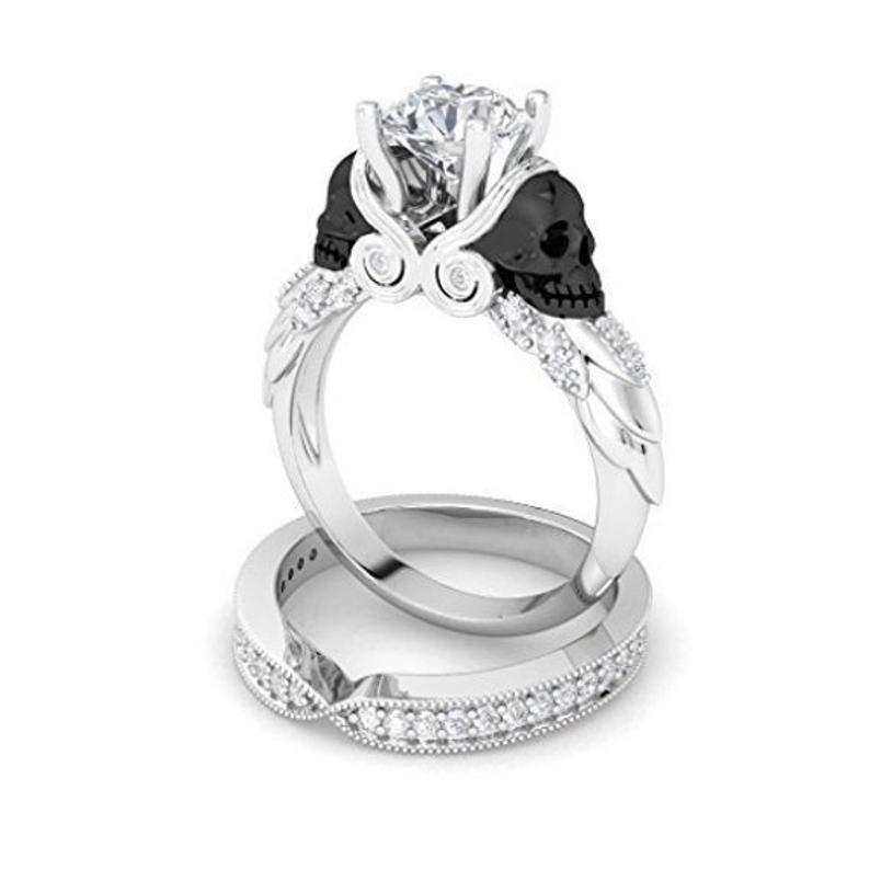 زفاف - Engagement Wedding Women's Ring Sets Skull Design , Two Tone & Two Skull Face 3.64Ct White Round Cut CZ Diamond in Solid 925 Sterling Silver
