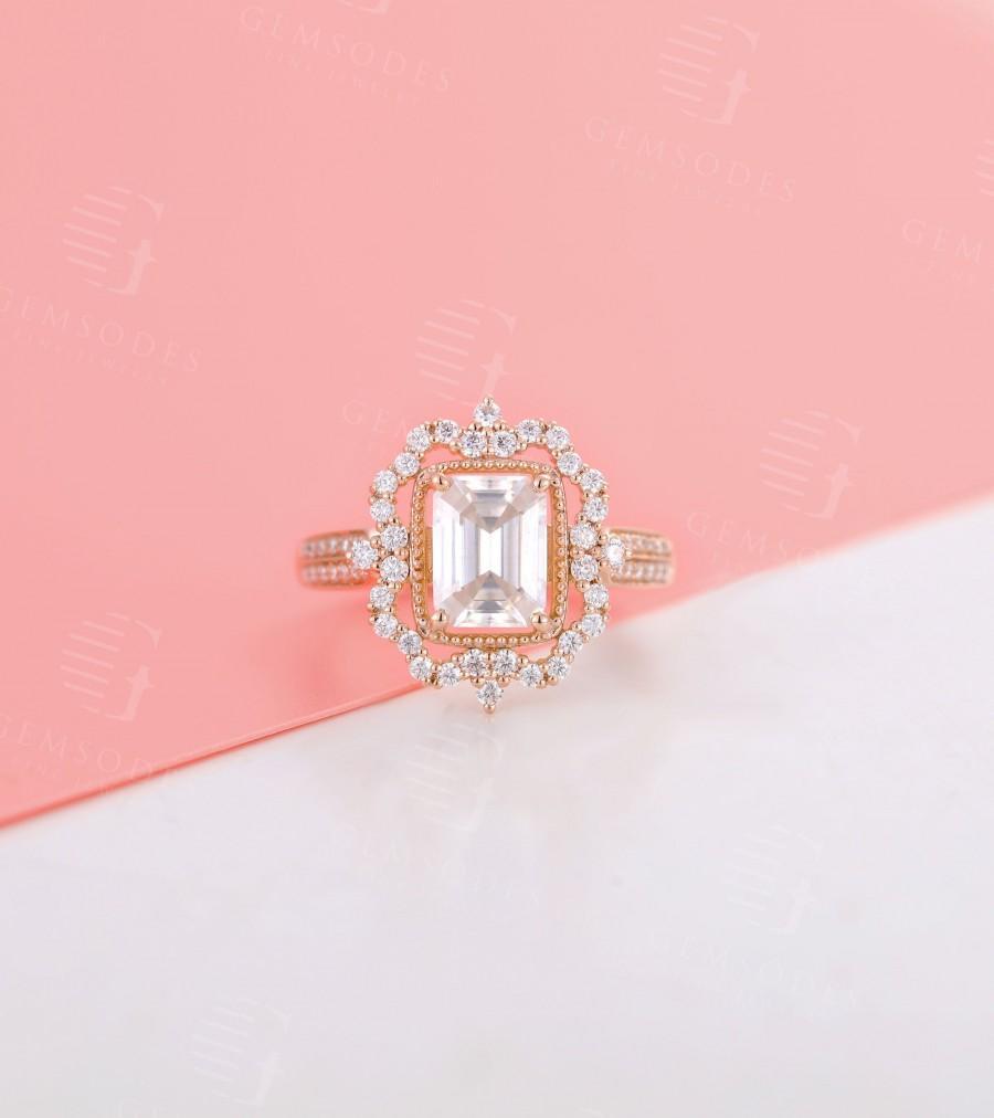 زفاف - Vintage Moissanite engagement ring rose gold diamond halo woman half eternity ministone micro pave antique bridal art deco anniversary gift