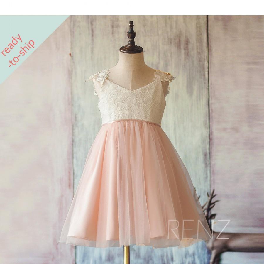 Свадьба - Flower Girl Dress Peach Junior Bridesmaid Dress A-Line Baby Dress V Neck Off White Lace Party Dress Tutu Girl Dress Ready-to-Ship (FK311)