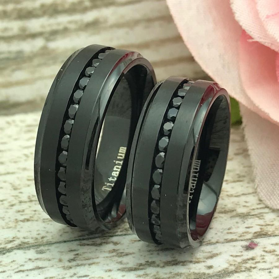 Mariage - 8MM His and Hers Black Titanium Wedding Rings, Personalized Engrave Titanium Rings, Eternity CZ Anniversary Rings, Couples Rings Sets