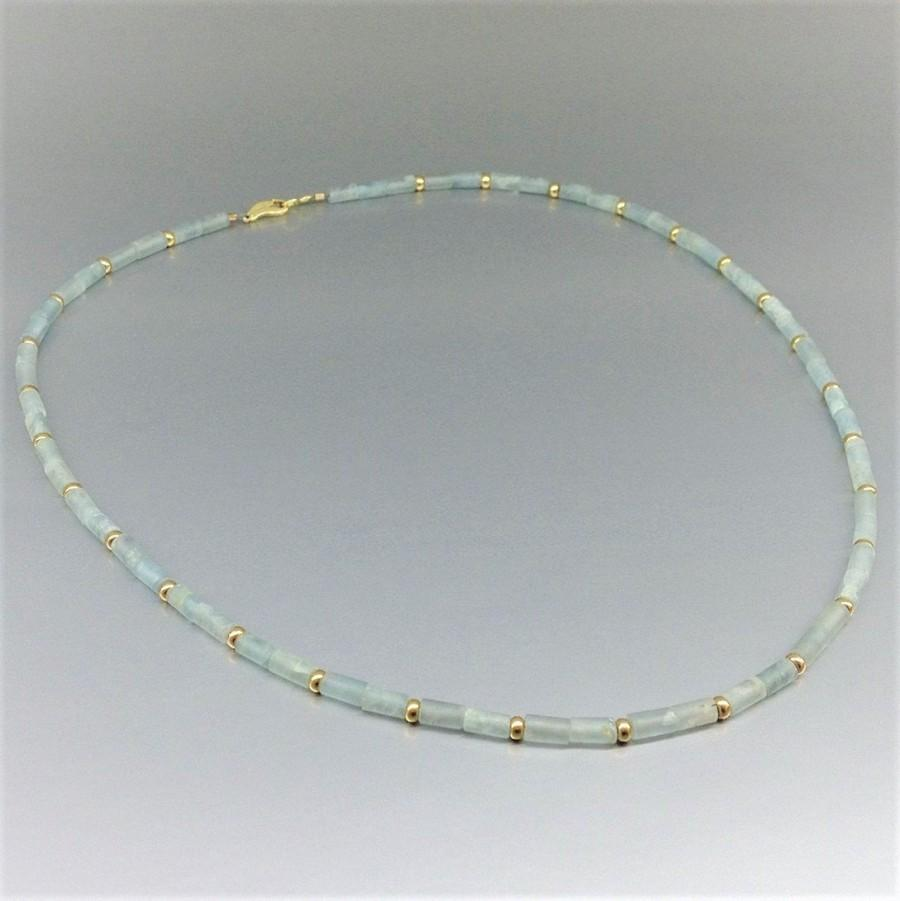 Wedding - Necklace mat Aquamarine with gold accents - gift for her - light blue gemstone - natural stone - wedding jewelry - fine bridal necklace