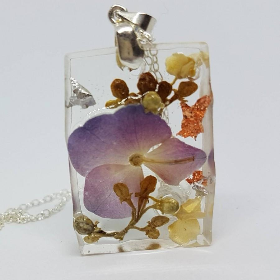 زفاف - 925 silver necklace with resin pendant and real flowers