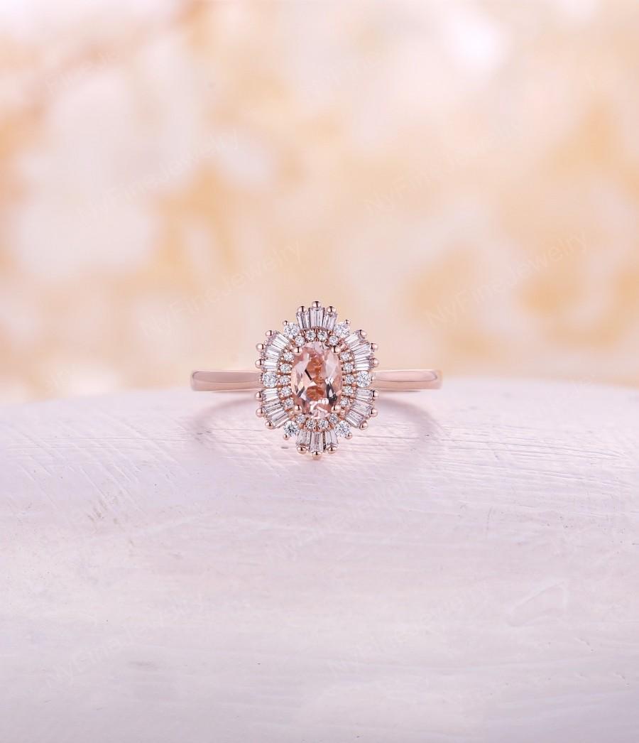Peach Morganite Engagement Ring Vintage Engagement Ring Rose Gold
