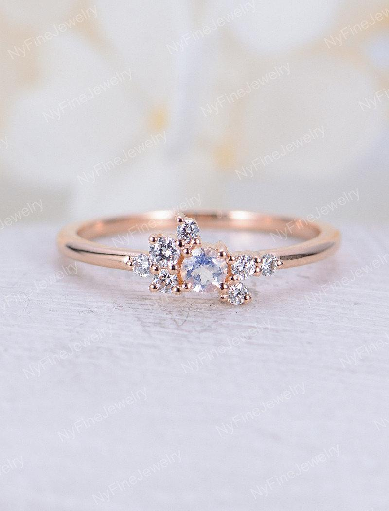 Morganite engagement ring rose gold Diamond cluster ring Unique Thin dainty wedding Bridal set Stacking Promise Anniversary gift for women