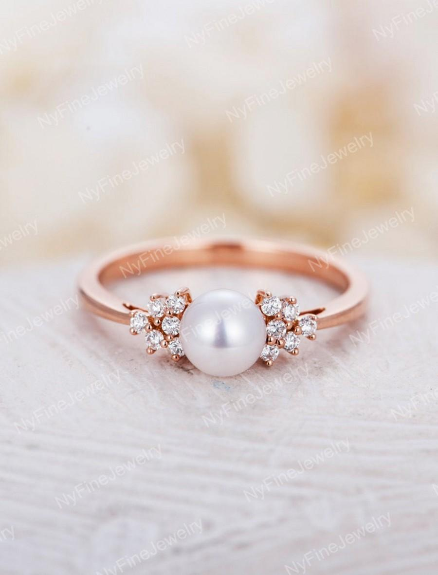Pearl Engagement Ring Rose Gold Diamond Cluster Engagement Ring