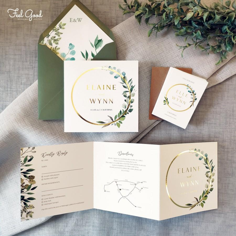 زفاف - Unity - Foil Wedding Invitations & Save the date. Luxury Eucalyptus wedding invites with foiled hoop detail and detachable RSVP postcard