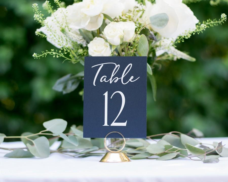 Mariage - Navy Blue Table Numbers, Wedding Table Numbers, Rustic Table Number, Foil Table Numbers, #1123 4x6