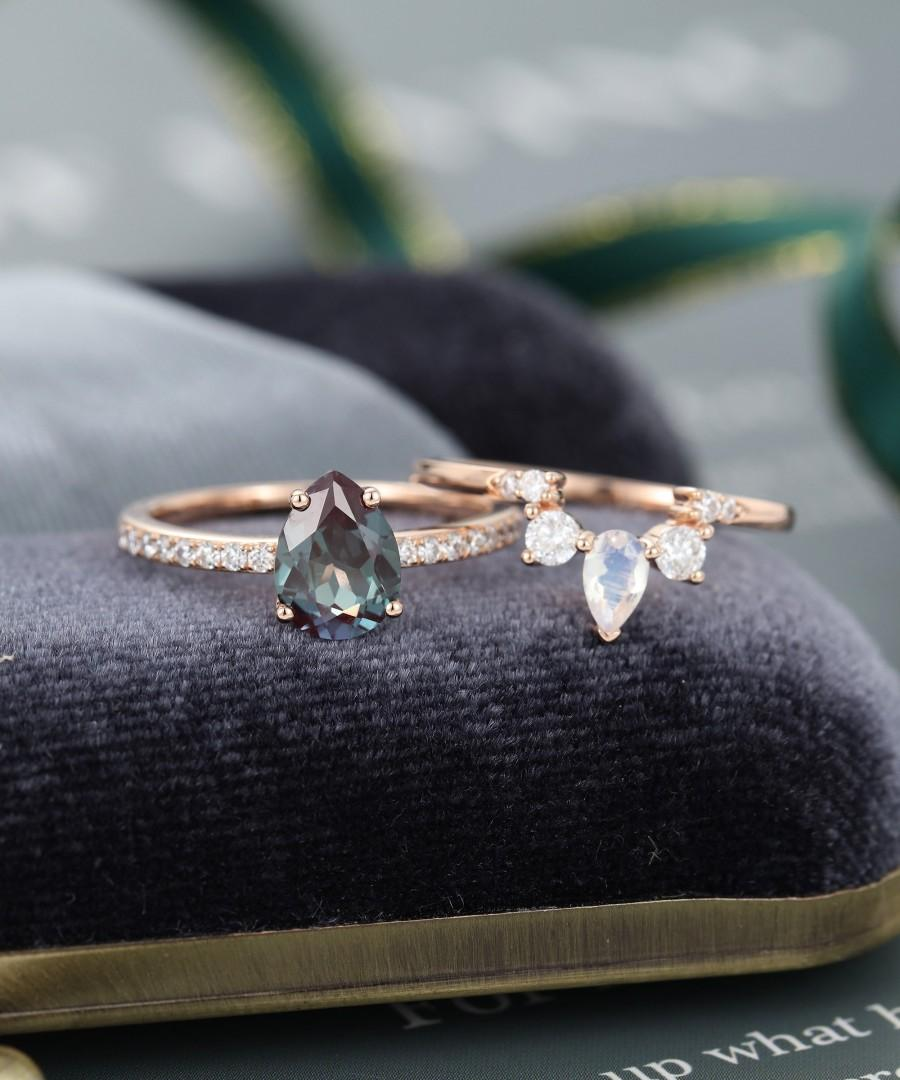 Pear Shaped Engagement Ring Set Rose Gold Engagement Ring Vintage
