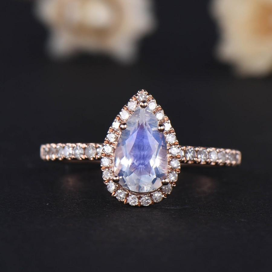 زفاف - Natural Pear Shaped Moonstone Rose Gold Engagement Ring 14k Sterling Silver CZ Diamond Eternity Band Halo Anniversary Gift for Her Women