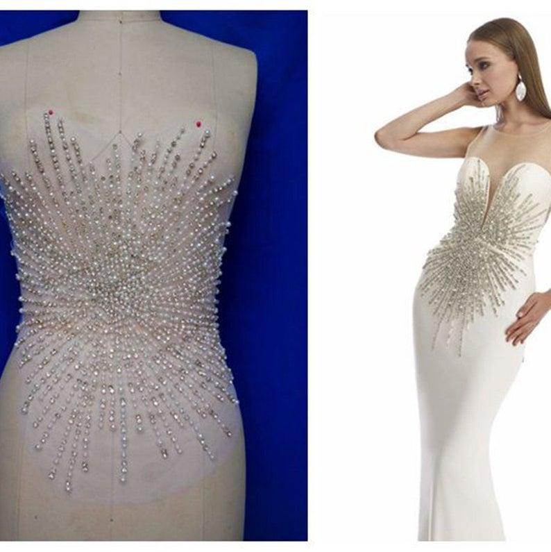Wedding - Sparkling Wedding Gown Applique Rhinestone Crystal Bodice Appliques Beaded Pearl Details Patch for Evening Dress Bridal Shower Dress Decor
