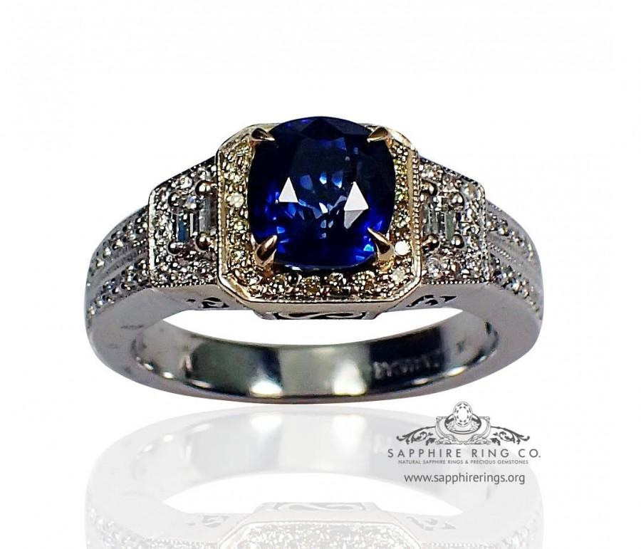 Mariage - Blue Cushion Sapphire and Diamond Ring-18kt White Gold 2.18 tcw Natural Ceylon -GIA Certified