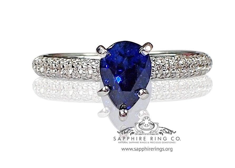 Mariage - Blue Natural Ceylon Sapphire ring-14kt White Gold 2tcw Pear Cut-74 Round brilliant Diamonds