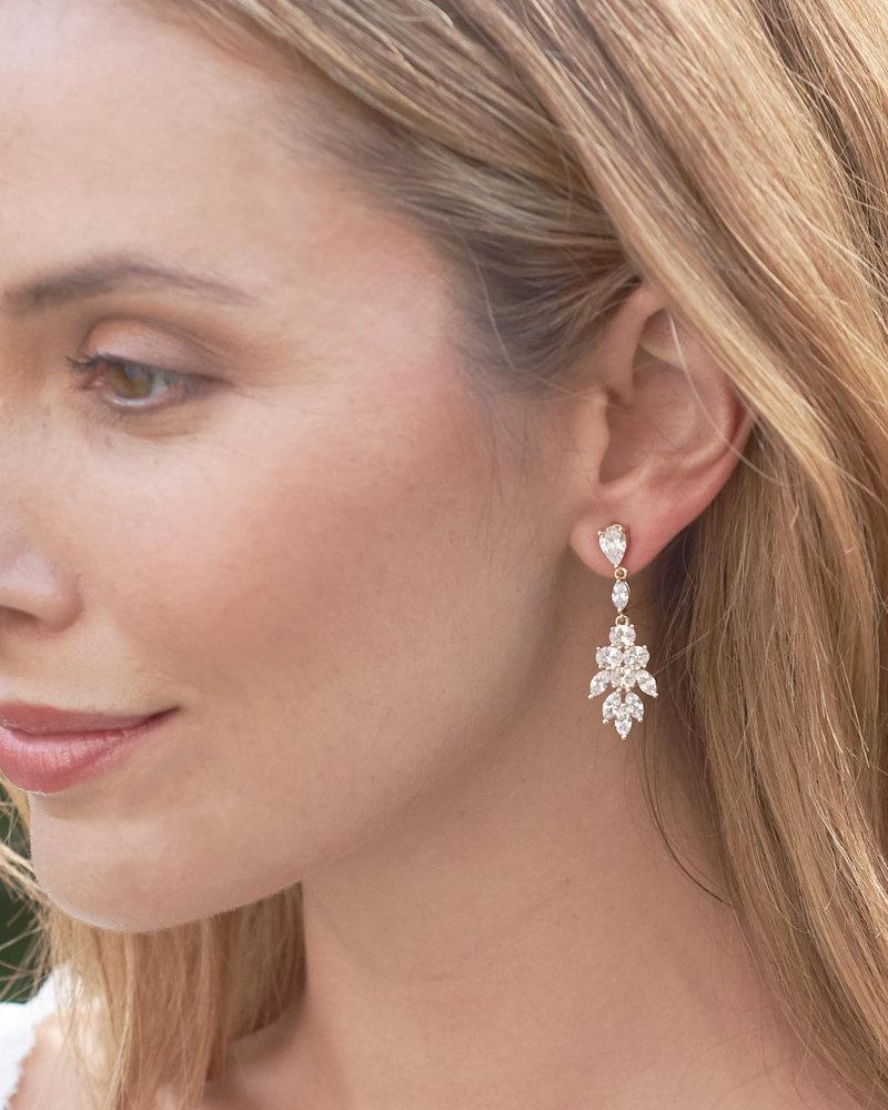 Wedding - Rhinestone Wedding Earrings, Cubic Zirconia Bridal Earrings, Silver Earrings, Silver Bridal Earrings, CZ Earrings, Dangle Earrings ~JE-4150