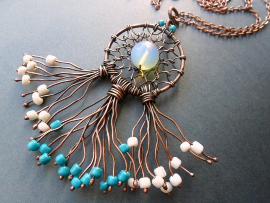 زفاف - Dreamcatcher necklace, Wire wrapped jewelry, Dreamcatcher jewelry, Tribal necklace, Boho necklace, Native america jewelry, Gift for womans