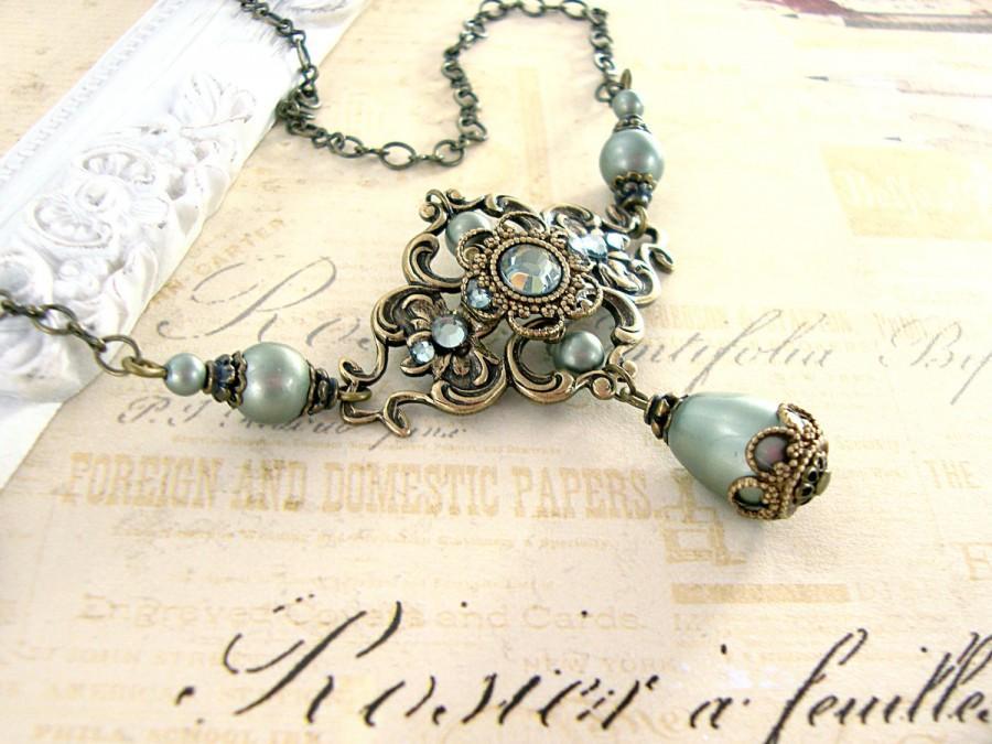 Hochzeit - Sage Green Victorian Necklace - Antique Brass Antique Style Teardrop Necklace - Swarovski Pearl Sage Pearl Necklace - Sage Victorian Jewelry